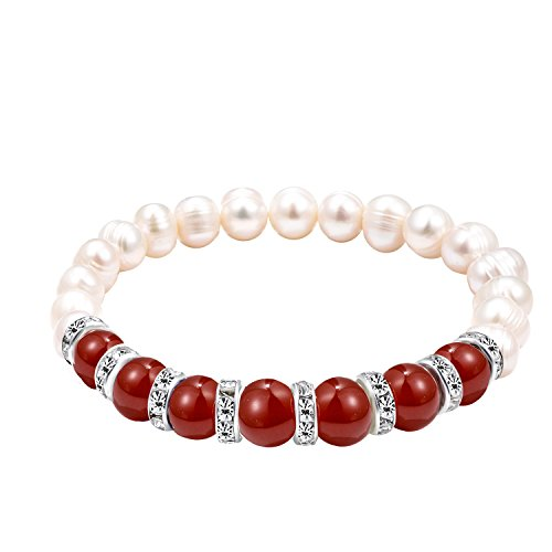 Katia Camille Round Red Gemstone Freshwater Pearl Strand Bracelet 8 mm Red Agate Bead Bracelet Link for Women Girls(Red ()