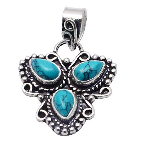 SILVERART Handmade Pendant Turquoise 925 Sterling Silver Plated Jewelry for Women and Girls