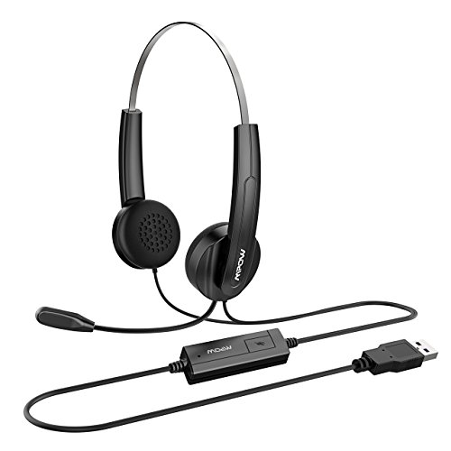 Mpow USB Headset, Stereo Computer Headset Noise Reduction, Lightweight PC Headset for Long Time Wearing, Wide Compatible On Ear Headphones with Microphone for Skype, Dragon Speak, Call Center, Webinar