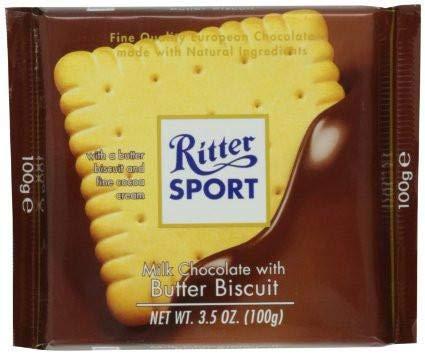 Ritter El Deporte De Mantequilla 100g De Galletas De Chocolate Con Leche