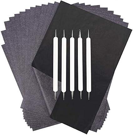 Yesallwas Lot de 100 feuilles de papier de transfert en carbone avec stylet en relief Noir graphite A4 C