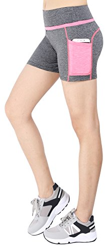 Sugar Pocket Women's Workout Shorts Running Tights Yoga Short Pants M(Light Grey/Pink)