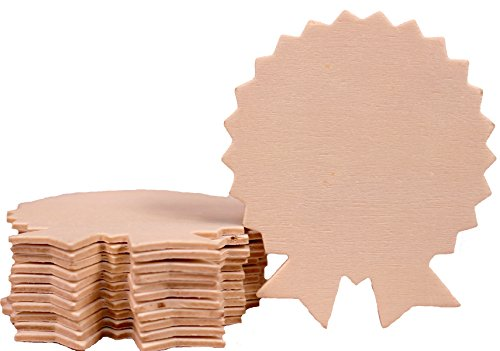 (Creative Hobbies 4 Inch Unfinished Wooden Rosette Award Ribbon Shapes, Pack of 12, Ready to Paint or Decorate)