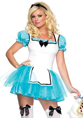 Leg Avenue Women's 2 Piece Enchanted Alice Costume, Aqua/White, Medium/Large (Characters In Alice In Wonderland Costumes)