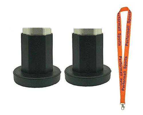Rocket Mesh Lacrosse TapeSaver Butt End (2-Pack) Mens Lacrosse Shaft End Cap Black and Black bundled with 1 Performall (Shaft Saver)