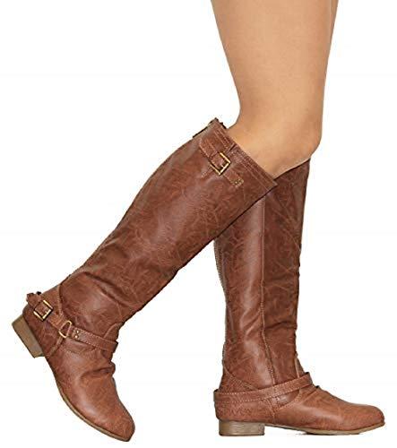 MVE Shoes Womens Stylish Comortable Buckled Low Heel Knee High Boots, Coco-1 tan pu 7.5