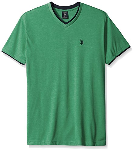 (U.S. Polo Assn. Men's Short Sleeve Solid Classic Fit V-Neck T-Shirt, Grass Heather, X-Large)