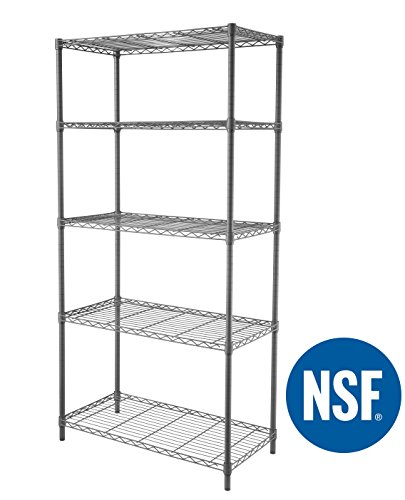 eeZe Rack ST-ETI004 HEAVY DUTY Steel Wire Shelving, Storage Rack, NSF CERTIFIED, 36x18x72-inches 5-Tier (Gray) (NEW)