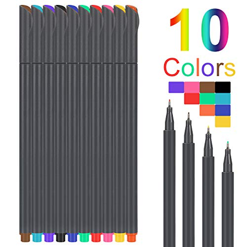 Fineliner Color 10 Pen Set Colorful fine Liner Perfect for Writing in Notebook 0.38mm
