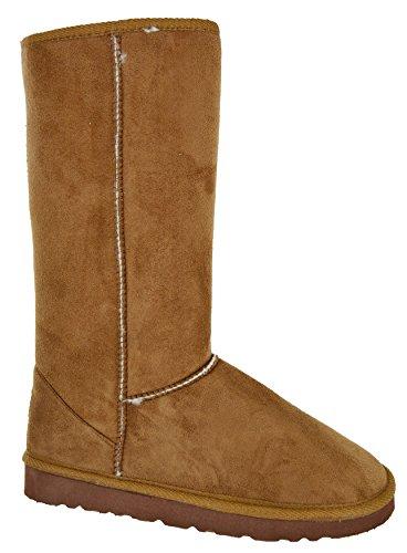 EYESONTOES Ladies Womens Mid Calf Warm Winter Fur Lined Snugg Hug Grip Sole Boots Size 3-8 CHESTNUT HUG XGKiTTz