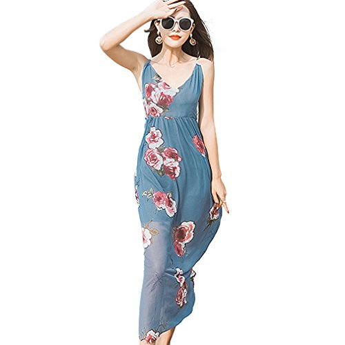 Fur Story 17B115 Femme Robe de robe de spaghetti imprim¨¦e en fleurs de Boh¨ºme