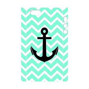 3D Bumper Plastic Customized Case Of Blue Chevron Anchor for iPhone 5,5S