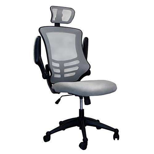 (Modern High Back Mesh Executive Chair With Headrest And Flip Up Arms. Color: Silver Grey)