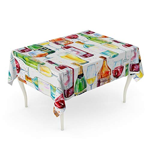 Semtomn Rectangle Tablecloth Champagne Cognac Wine Beer and Glass Painting Alcohol 60 x 84 Inch Home Decorative Waterproof Oil-Proof Printed Table Cloth