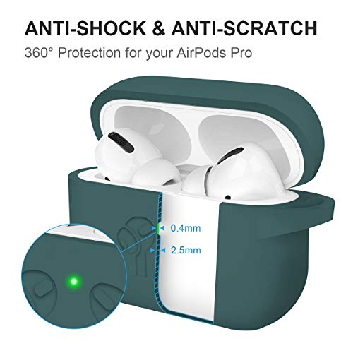 2019 Upgraded AirPods Pro Case Cover, Soft Thick Silicone Skin Protective Cover with Keychain Visible Front LED for AirPods Pro Wireless Charging Case, Army Green