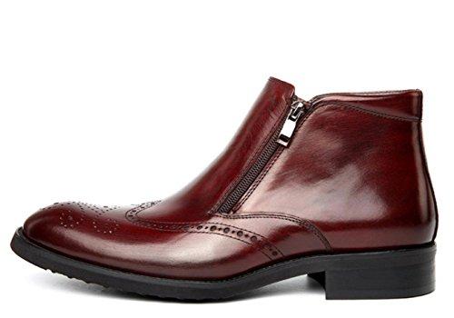 WZG Los nuevos zapatos del alto-top de los hombres botas británica Lun Mading señalaron botas botas de cuero botas casuales planas de los zapatos de la manera ocasional wine red
