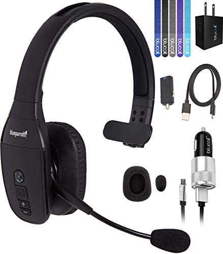 VXI BlueParrott B450-XT Noise Canceling Bluetooth Headset 300-FT Wireless Range Bundle with Blucoil USB Wall Adapter, and 5-Pack of Reusable Cable Ties