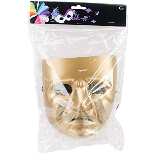 Mask-It Tragedy Mask with Instruction Sheet, 7.75-Inch, Gold