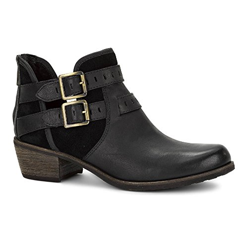 UGG Women's Patsy Black/Leather Suede Boot (Ugg Boots Back Zipper)
