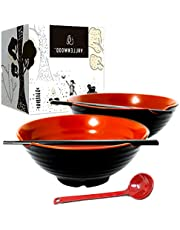 2 XL Set (6 Pieces) Ramen Bowl Set, Asian Japanese Soup with Spoons and Chopsticks. Restaurant Quality Melamine, Large 54 oz for Noodles, Pho, Udon, Thai, Chinese dinnerware.