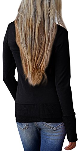 Steven McQueen Women's Solid Button Front Knitwears Long Sleeve Casual Cardigans Black L