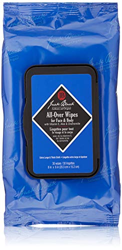 JACK BLACK – All-Over Wipes – Wipes for Face and Body, Alcohol-Free, Cleanses, Hydrates, and Deodorizes, Extra-Thick 8? × 6? Cloths, Vitamin E & Aloe, Chamomile Extract, 30 Towelettes