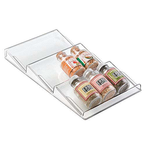- mDesign Plastic Spice Rack, Drawer Organizer for Kitchen Cabinet Drawers - 3 Slanted Tiers - for Garlic, Salt, Pepper Spice Jars, Seasonings, Vitamins, Supplements - Clear