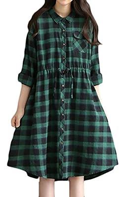 ONTBYB Womens Casual Long Sleeve Plaid Loose Irregular Shirt Tunic Dress