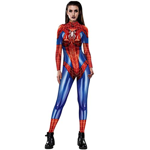 Tsyllyp Halloween Costume Adult Superhero Spiderman Cosplay Onesie Bodysuit Jumpsuit]()
