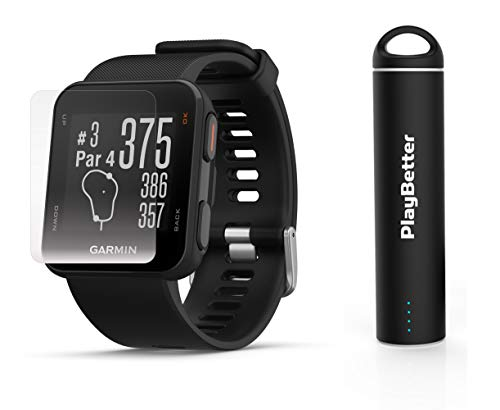 Garmin Approach S10 (Black) Golf GPS Watch Power Bundle   Includes HD Screen Protectors & PlayBetter Portable Charger   40,000 Pre-Loaded Worldwide Courses, Simple Golf GPS Watch