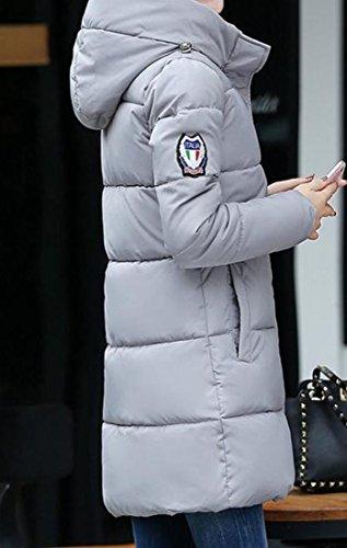 Coats Slim Down Light Grey Wild Solid Hoodie Overcoat Women's EKU Thicken M 1qBvw8TI