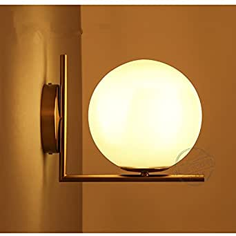 Vintage Modern Wall Sconce Wall Lamp Wall Light Solid Brass Fitting Fixture Ceiling Light White Globe Shade Dual Purpose