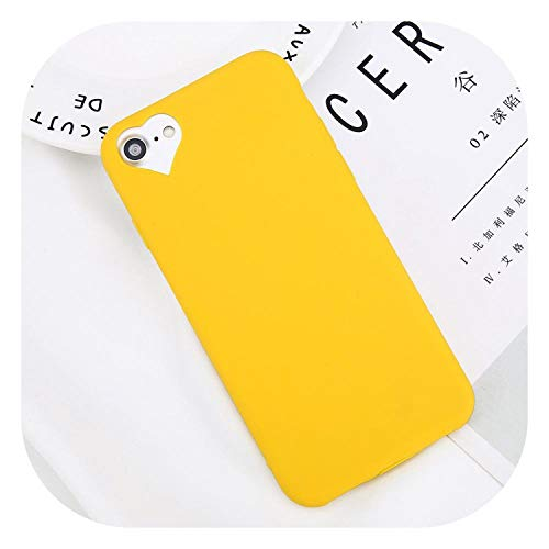 (Phone Case for iPhone 6 6s 7 8 Plus 5 5s SE Fashion Candy Solid Color Love Heart Soft Silicone for iPhone 8 Phone Case,Yellow,for iPhone 7)
