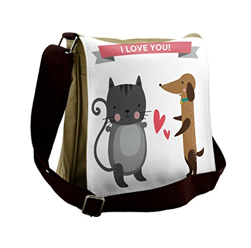 Lunarable Animals Messenger Bag, Animal Wedding Cat and Dog, Unisex Cross-body by Lunarable