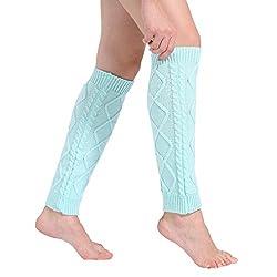 Leg Warmers Socks, Boomboom Cheap Women Winter Leg Warmers Cable Knitted Crochet Long Socks (Blue)