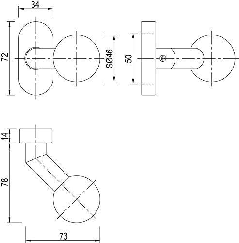 ToniTec Poign/ée de porte ovale coud/ée fin rotatif en acier inoxydable mat
