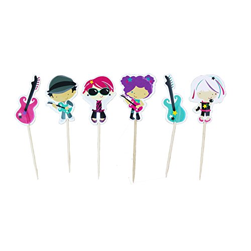 iMagitek 48 Pack Guitar Cupcake Toppers Musical Instrument Cupcake Toppers Picks for Music Themed Party, Baby Shower, Wedding and Birthday Party]()