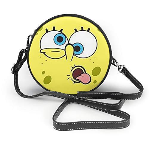 Women's Leatherwear SpongeBob Face Print Round Crossbody Shoulder Bag Top Handle Tote Handbag Bag - 7.1 X 7.1 X 2.36 Inch