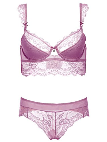 Plus Size Ultimate Soft Embroidered Push Up Bra Sets Lace Panties Underwear Outfit for Women Pierced Hollow Out Bra Thin Straps 38D Purple - Embroidered Bikini Panties