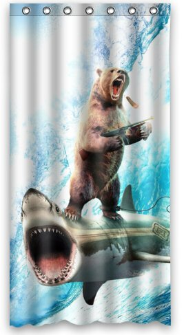 Fashion Bear With Riding Shark Never Stop Dreaming Shower Curtain