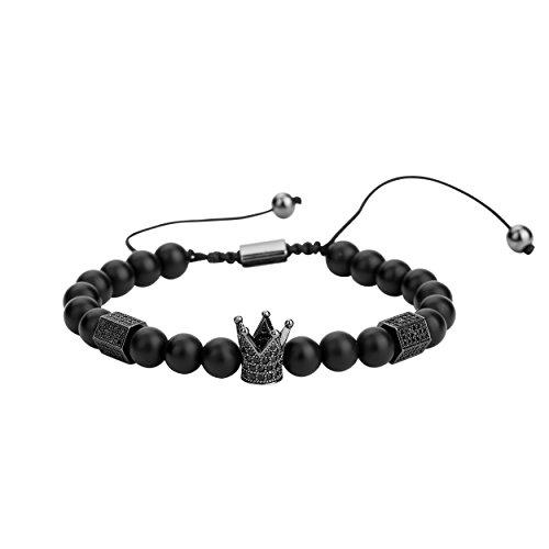 Joya Gift 8mm Black Matte Onyx Beads Black King Crown Braided Bracelet for Men with CZ Charm