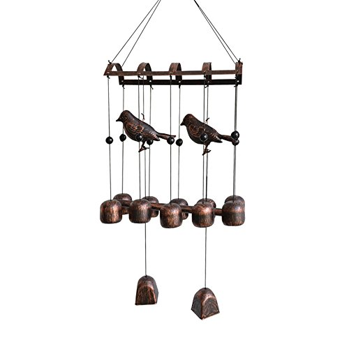 BLESSEDLAND Bird Wind Chime,12 Wind Bells and 2 Metal Birds for Outdoor Patio(25-3/4
