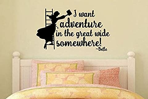 Inspired by Beauty and the Beast Wall Decal Sticker I want adventure in the great wide somewhere! (Beauty Beast Decal)