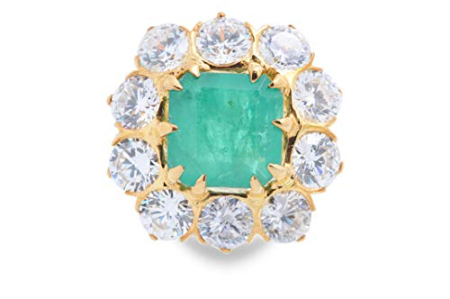 Adastra Jewelry Vintage Style Ring For Women 10 ct Green Asscher Simulated Diamond 14k White Gold Over 925 Sterling Silver Holiday Special Gift Idea Size 3 to 11 and half sizes