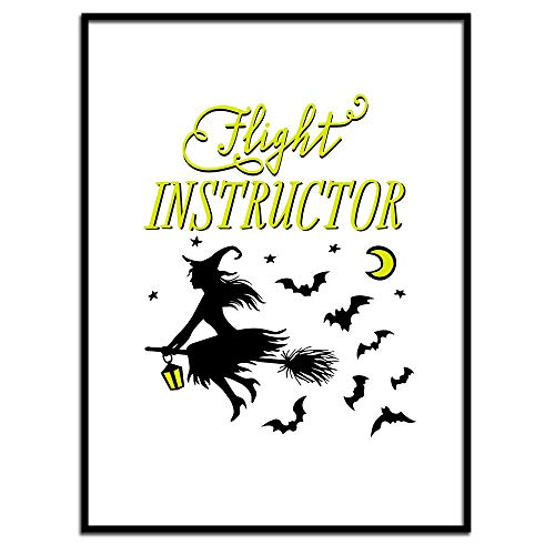 MalertaART Flight Instructor Print Funny Witch Print Funny Halloween Print Halloween Printables Poster for Halloween Witch Poster Witch Wall Art Framed Wall Art]()