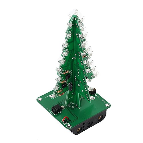 Icstation DIY 3D Christmas Tree Assemble Kit with 7 Color Flashing LED for Electronics Solder Practice