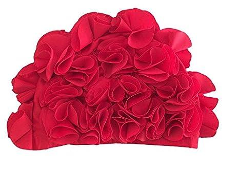 b6a48cc48c8 Amazon.com : Huachnet Retro Petal Cap - Flower Swim Cap (Red ...