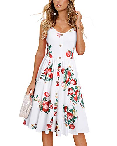 KILIG Women's Summer Floral Dress Spaghetti Strap Button Down Sundress with Pockets(Floral-07, -