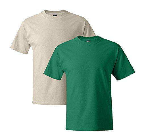 Hanes Mens 5180 Short Sleeve Beefy T, 1 Kelly Green/1 Natural XL