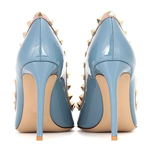 Stiletto Pumps Punta Punta Elegante Dress rivettato con Blu altoSlip Borchia 10CM a Borchie oro Pan On Donna Tacco Caitlin Pumps nzqXfvww